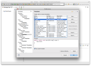 Code Templates dialog