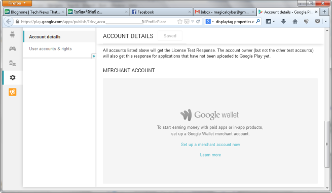 Account details - Google Play Developer Console