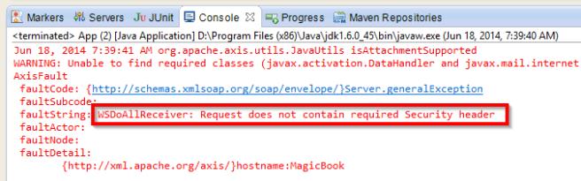 ws client error Security header