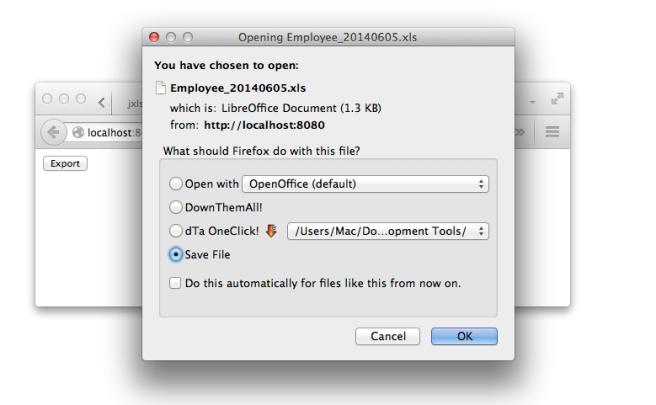 export popup download