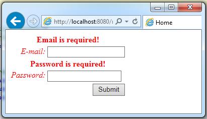 struts2 css form validation message